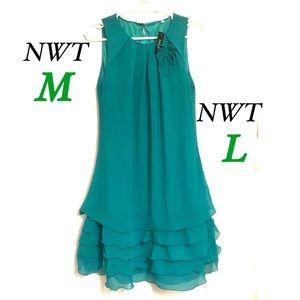 NWT M L MoDa Green midi chiffon ruffle  sheath